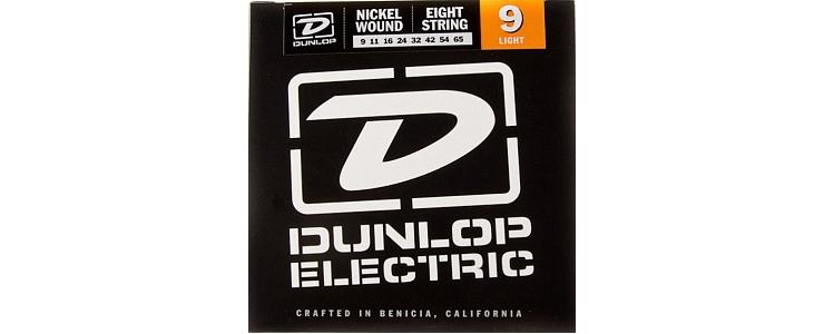 DEN0965 Комплект струн для 8-струнной электрогитары, никелированные, Light, 9-65, Dunlop